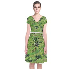 Greenery Paddy Fields Rice Crops Short Sleeve Front Wrap Dress