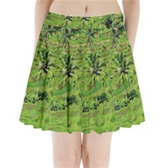 Greenery Paddy Fields Rice Crops Pleated Mini Skirt