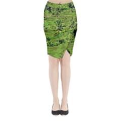 Greenery Paddy Fields Rice Crops Midi Wrap Pencil Skirt
