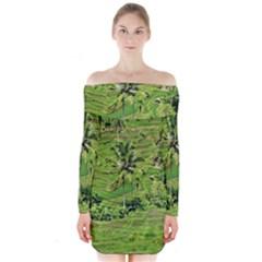 Greenery Paddy Fields Rice Crops Long Sleeve Off Shoulder Dress