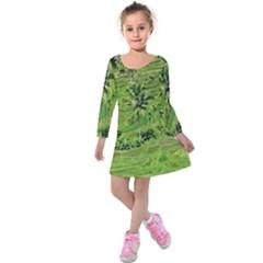 Greenery Paddy Fields Rice Crops Kids  Long Sleeve Velvet Dress