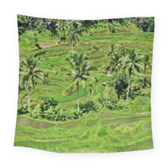 Greenery Paddy Fields Rice Crops Square Tapestry (Large)