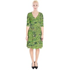 Greenery Paddy Fields Rice Crops Wrap Up Cocktail Dress
