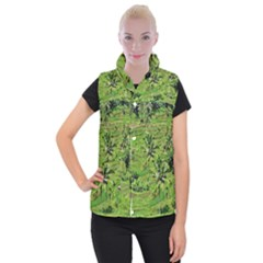Greenery Paddy Fields Rice Crops Women s Button Up Puffer Vest