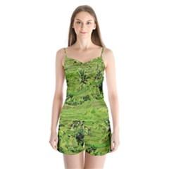 Greenery Paddy Fields Rice Crops Satin Pajamas Set