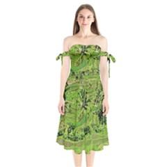Greenery Paddy Fields Rice Crops Shoulder Tie Bardot Midi Dress