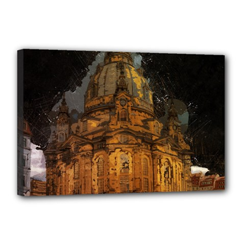 Dresden Frauenkirche Church Saxony Canvas 18  X 12