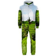 Bali Rice Terraces Landscape Rice Hooded Jumpsuit (men)