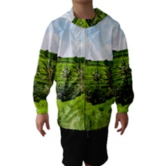 Bali Rice Terraces Landscape Rice Hooded Wind Breaker (kids)