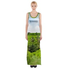 Bali Rice Terraces Landscape Rice Maxi Thigh Split Dress by Nexatart