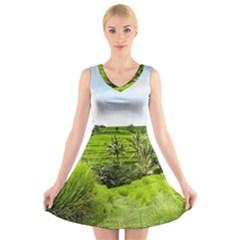 Bali Rice Terraces Landscape Rice V Neck Sleeveless Skater Dress