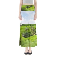 Bali Rice Terraces Landscape Rice Full Length Maxi Skirt