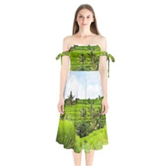 Bali Rice Terraces Landscape Rice Shoulder Tie Bardot Midi Dress