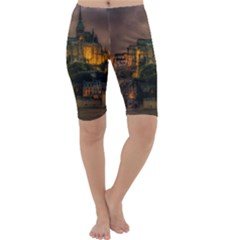 Mont St Michel Sunset Island Church Cropped Leggings
