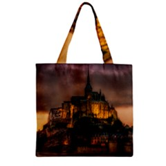 Mont St Michel Sunset Island Church Zipper Grocery Tote Bag