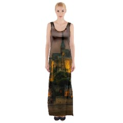 Mont St Michel Sunset Island Church Maxi Thigh Split Dress