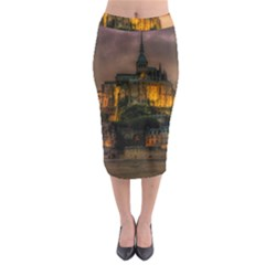 Mont St Michel Sunset Island Church Midi Pencil Skirt