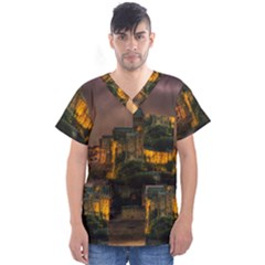 Mont St Michel Sunset Island Church Men s V Neck Scrub Top