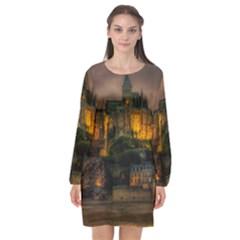 Mont St Michel Sunset Island Church Long Sleeve Chiffon Shift Dress