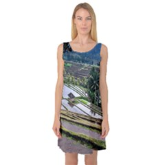 Rice Terrace Rice Fields Sleeveless Satin Nightdress