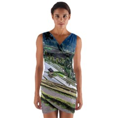 Rice Terrace Rice Fields Wrap Front Bodycon Dress