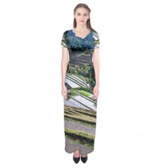Rice Terrace Rice Fields Short Sleeve Maxi Dress