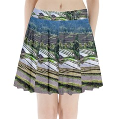 Rice Terrace Rice Fields Pleated Mini Skirt