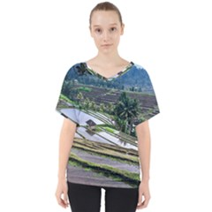 Rice Terrace Rice Fields V Neck Dolman Drape Top by Nexatart