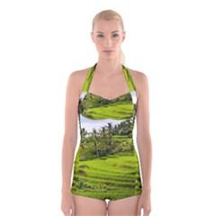 Rice Terrace Terraces Boyleg Halter Swimsuit