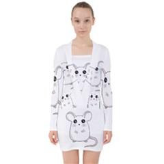 Cute Mouse V Neck Bodycon Long Sleeve Dress