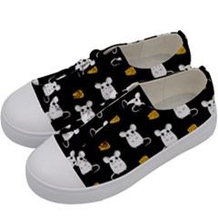 Cute Mouse Pattern Kids  Low Top Canvas Sneakers by Valentinaart