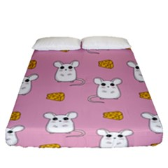 Cute Mouse Pattern Fitted Sheet (queen Size) by Valentinaart