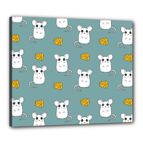 Cute Mouse Pattern Canvas 24  X 20  by Valentinaart