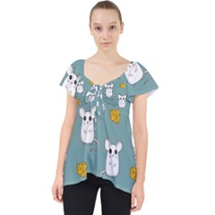 Cute Mouse Pattern Lace Front Dolly Top