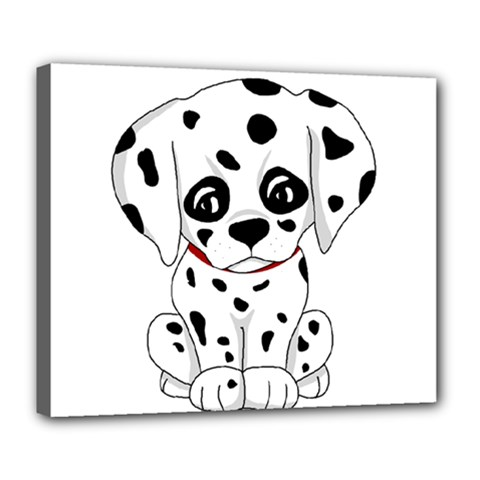 Cute Dalmatian Puppy  Deluxe Canvas 24  X 20   by Valentinaart