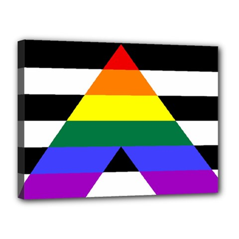 Straight Ally Flag Canvas 16  X 12  by Valentinaart