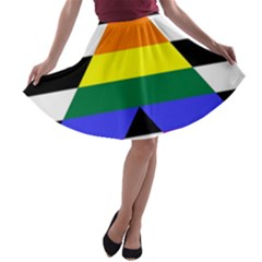 Straight Ally Flag A Line Skater Skirt by Valentinaart