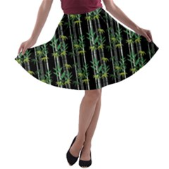 Bamboo Pattern A Line Skater Skirt by ValentinaDesign