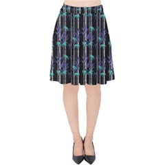 Bamboo Pattern Velvet High Waist Skirt by ValentinaDesign