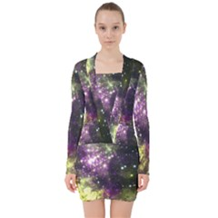Space Colors V Neck Bodycon Long Sleeve Dress