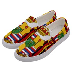 Kingdom Of Hawaii Coat Of Arms, 1795 1850 Men s Canvas Slip Ons by abbeyz71