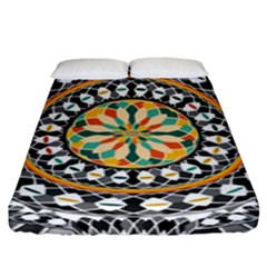 High Contrast Mandala Fitted Sheet (king Size) by linceazul
