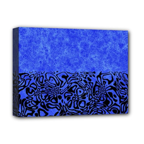 Modern Paperprint Blue Deluxe Canvas 16  X 12   by MoreColorsinLife