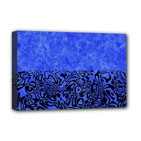 Modern Paperprint Blue Deluxe Canvas 18  X 12   by MoreColorsinLife