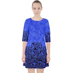 Modern Paperprint Blue Pocket Dress