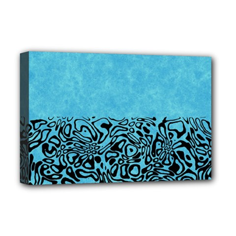 Modern Paperprint Turquoise Deluxe Canvas 18  X 12   by MoreColorsinLife