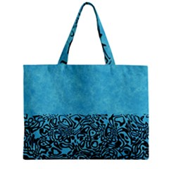 Modern Paperprint Turquoise Zipper Mini Tote Bag by MoreColorsinLife