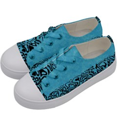 Modern Paperprint Turquoise Kids  Low Top Canvas Sneakers by MoreColorsinLife