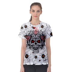 Light Gray Graveyard Skull Women s Sport Mesh Tee