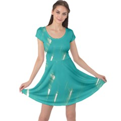 Background Green Abstract Cap Sleeve Dress